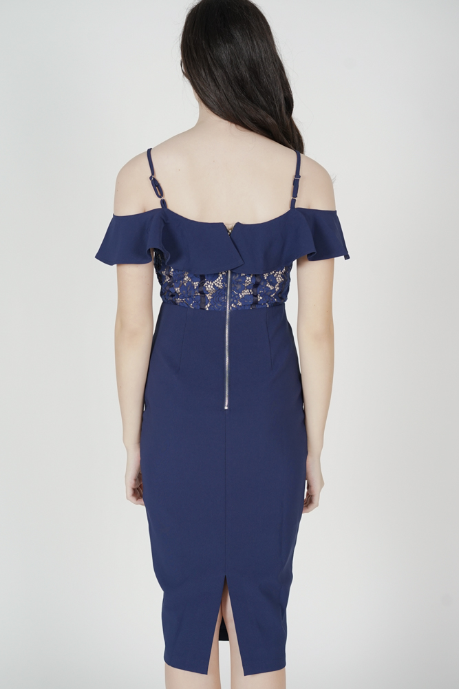 Hethalia Ruffled Lace Dress in Navy - Arriving Soon