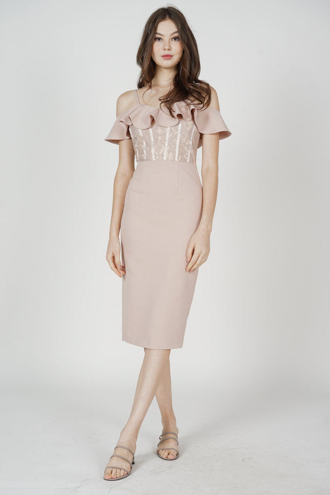Hethalia Ruffled Lace Dress in Nude - Arriving Soon