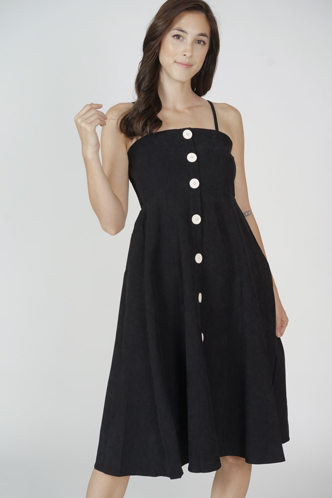 Walden Buttoned Dress in Black - Online Exclusive