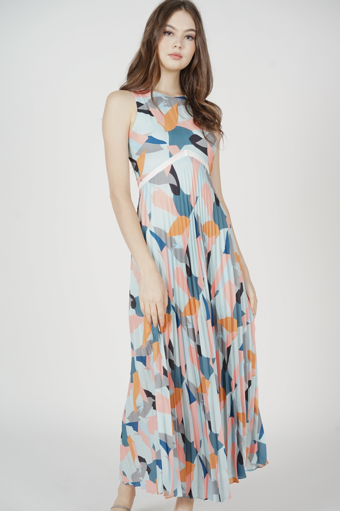 Nayeli Pleated Dress in Multi Abstract - Arriving Soon