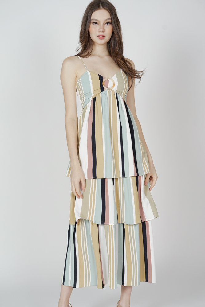 Nagaina Gathered Dress in Multi Stripes - Arriving Soon