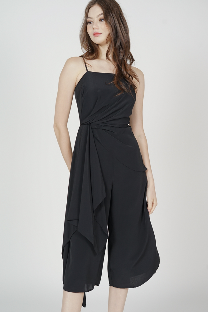 Nathan Side Ruffled Jumpsuit in Black - Arriving Soon