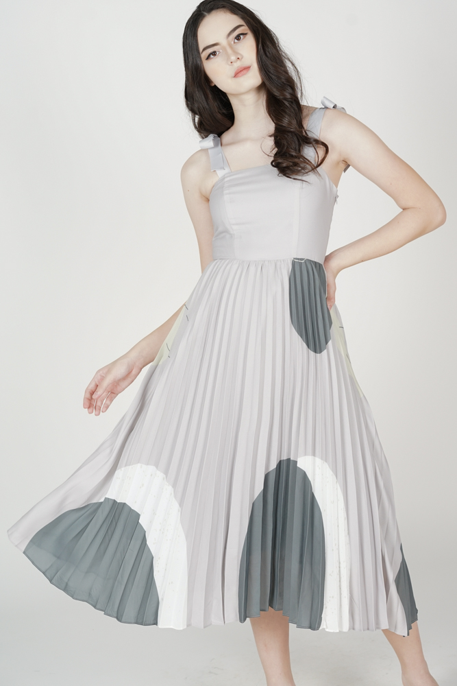 Keon Pleated Dress in Grey - Arriving Soon