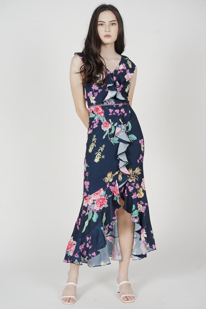Hafez Ruffled Dress in Midnight Floral - Arriving Soon