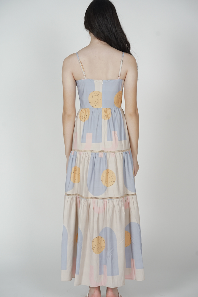 Edolie Abstract Gathered Dress in Ash Blue - Arriving Soon
