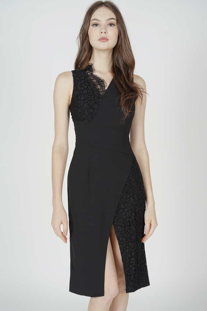 Simone Contrast Lace Dress in Black - Arriving Soon