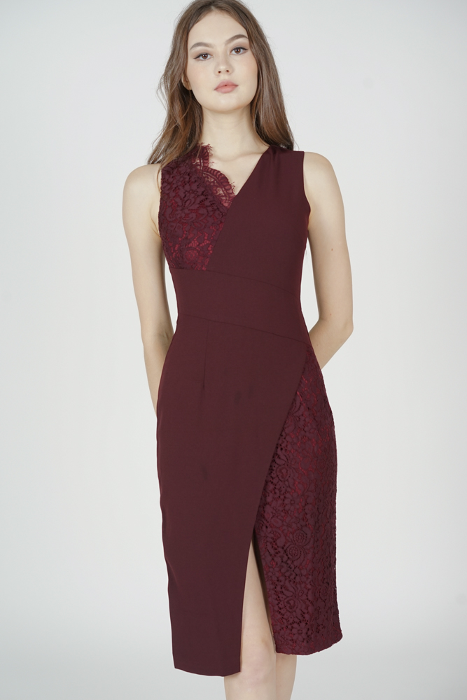 Simone Contrast Lace Dress in Oxblood - Arriving Soon
