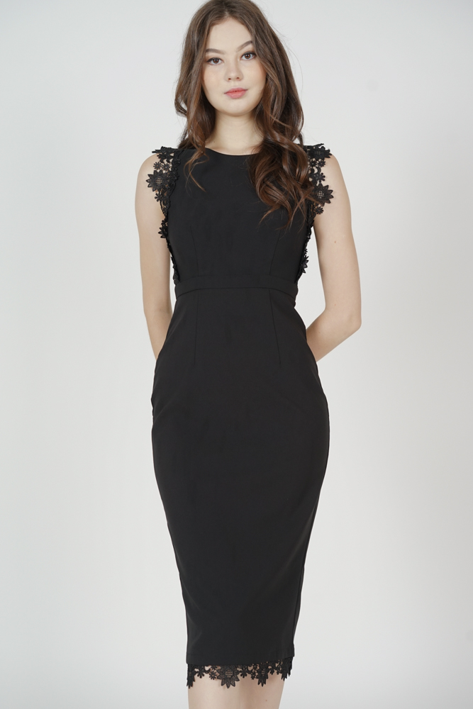 Galton Crochet-Trimmed Dress in Black - Arriving Soon