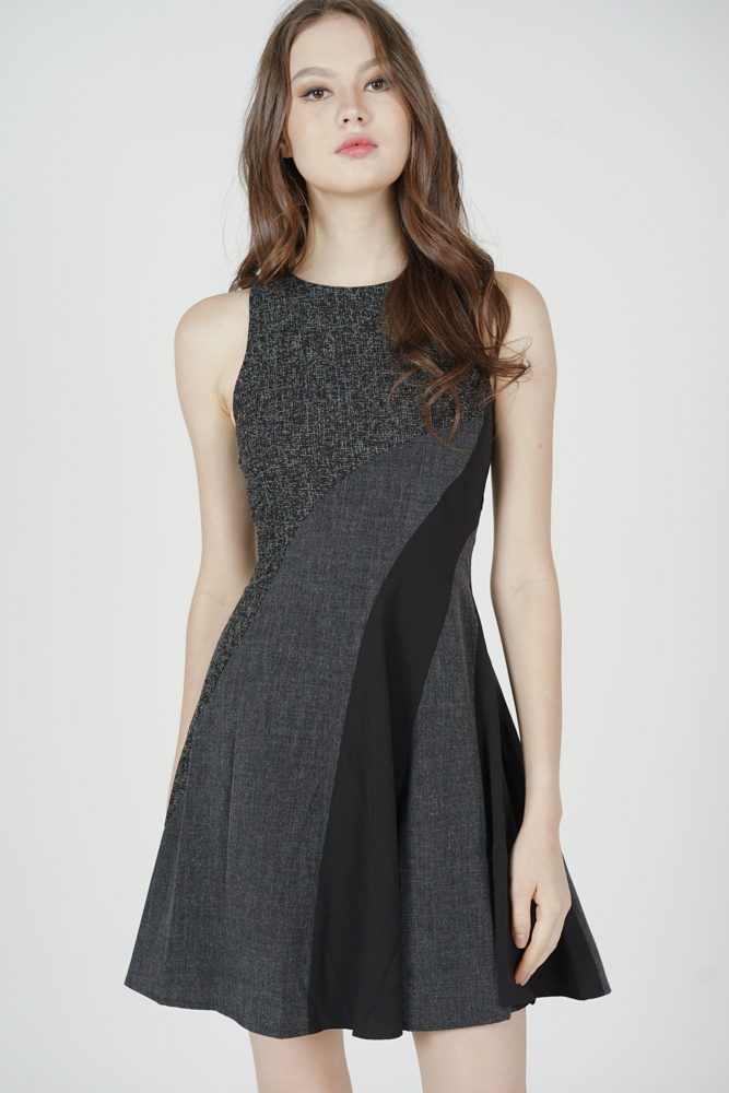 Sadney Contrast Flared Dress in Black - Arriving Soon