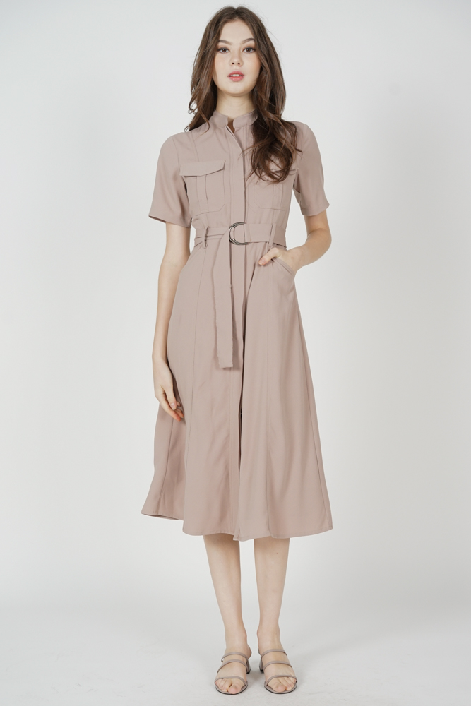 Gryla Utility Dress in Taupe - Arriving Soon