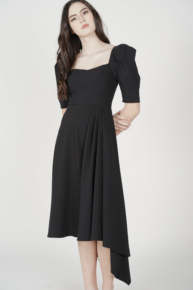 Waldon Drape Dress in Black - Arriving Soon