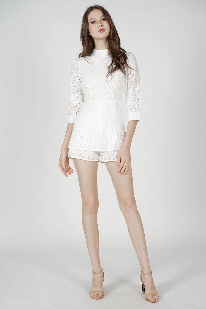 Fiero Eyelet Romper in White - Arriving Soon