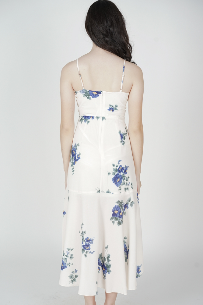Narsha Ruffled Dress in White Blue Floral - Arriving Soon