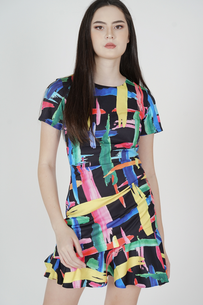 Heiden Abstract Dress in Black - Arriving Soon