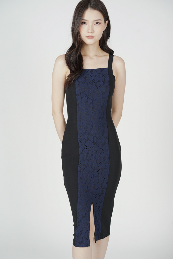 Ferica Contrast Dress in Black - Arriving Soon