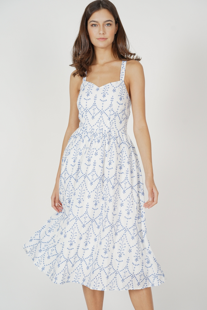 Petra Eyelet Midi Dress in White - Arriving Soon