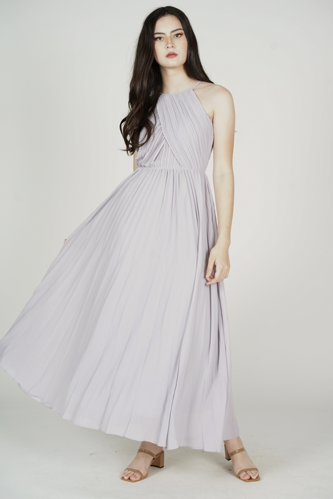 Chrissi Pleated Dress in Dusty Blue - Arriving Soon