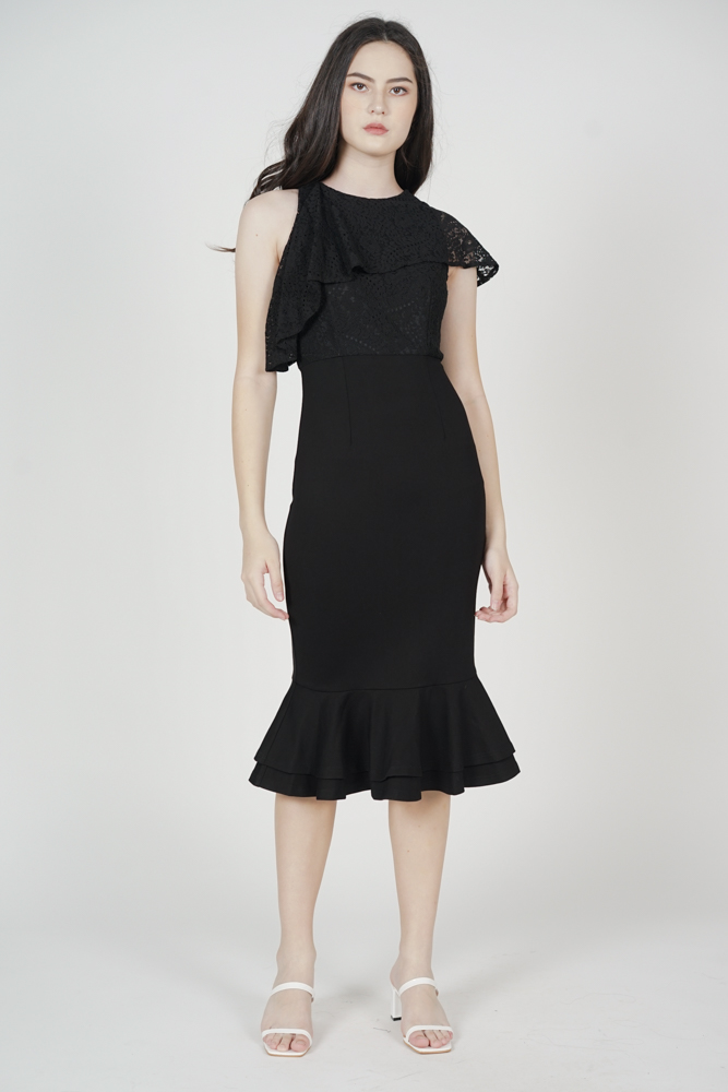 Ragni Asymmetric Lace Dress in Black - Arriving Soon
