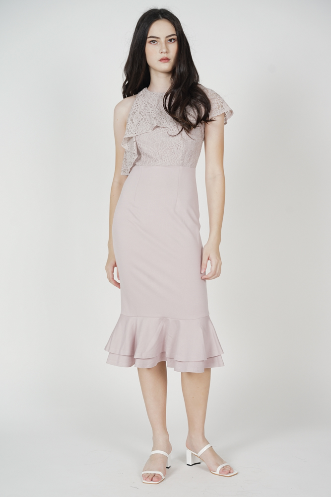 Ragni Asymmetric Lace Dress in Pink - Arriving Soon