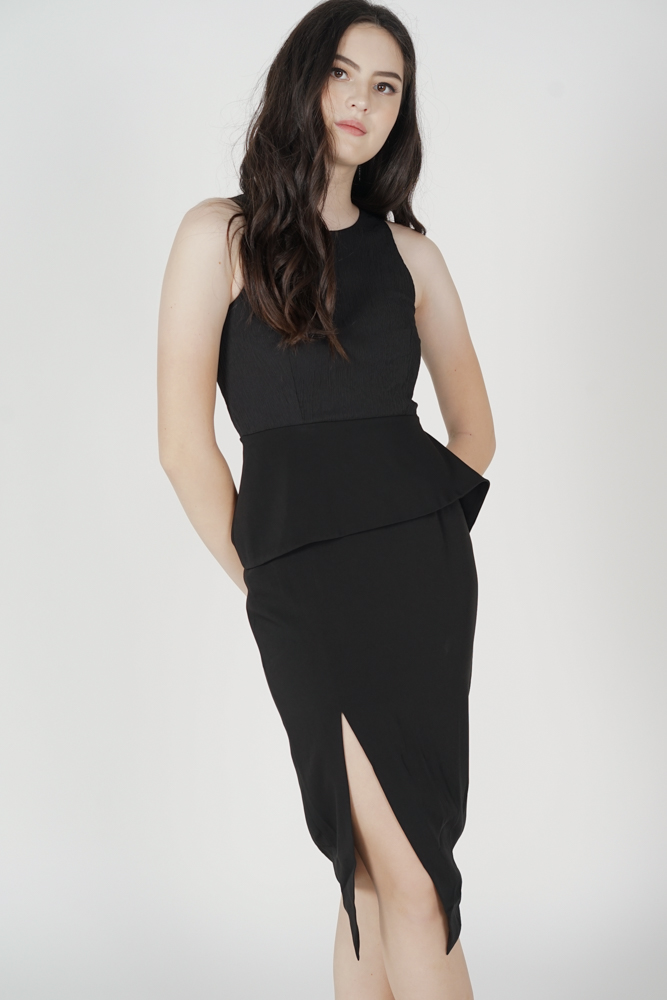 Jolie Contrast Peplum Dress in Black - Arriving Soon