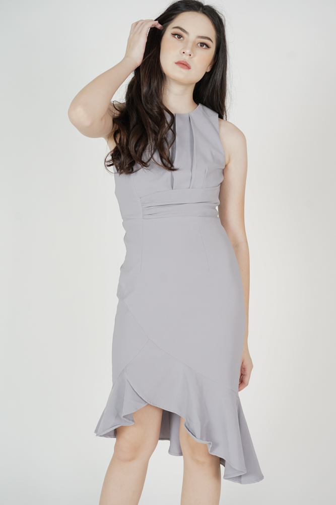 Luzin Ruffled Dress in Ash Blue