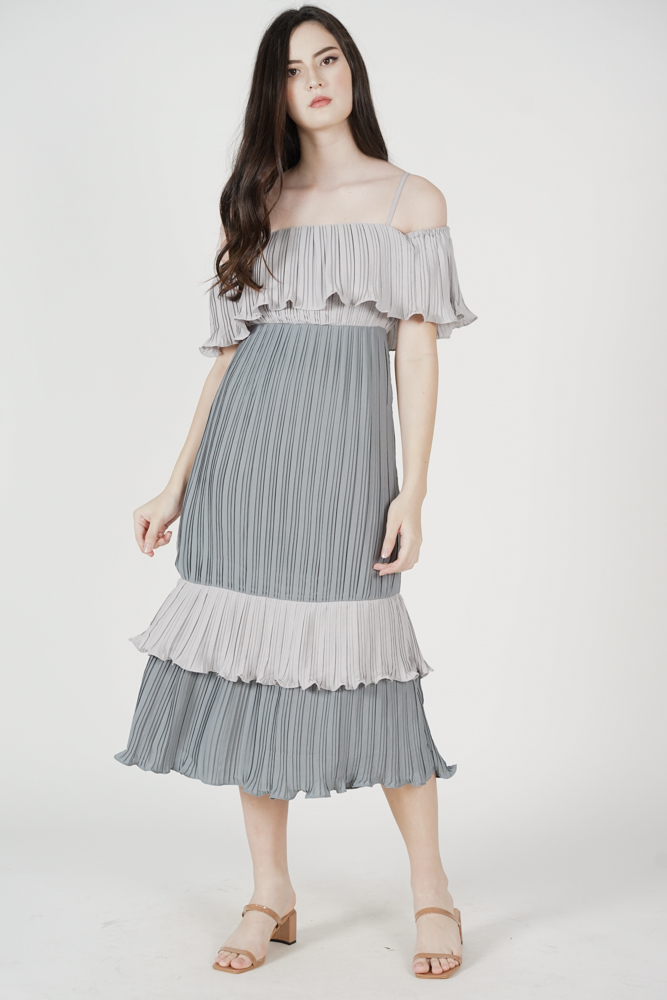 Eshley Pleated Dress in Ash Blue - Arriving Soon