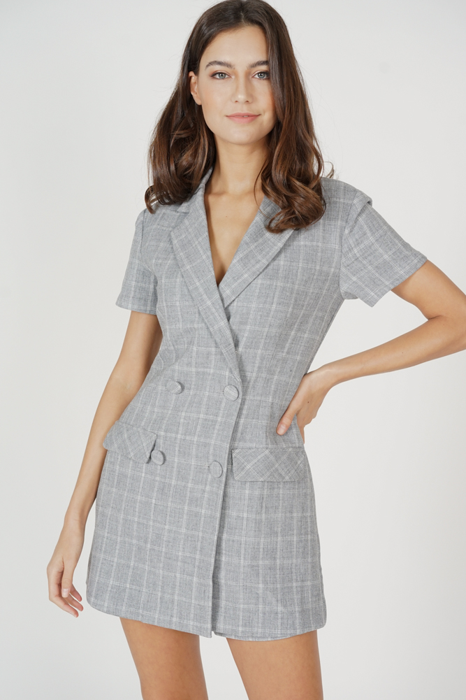 Jaeho Buttoned Romper in Grey Checks - Arriving Soon