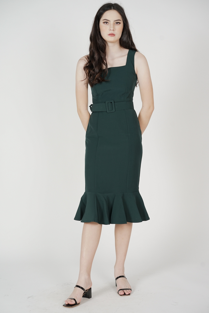 Felice Square-Neck Dress in Forest Green - Arriving Soon