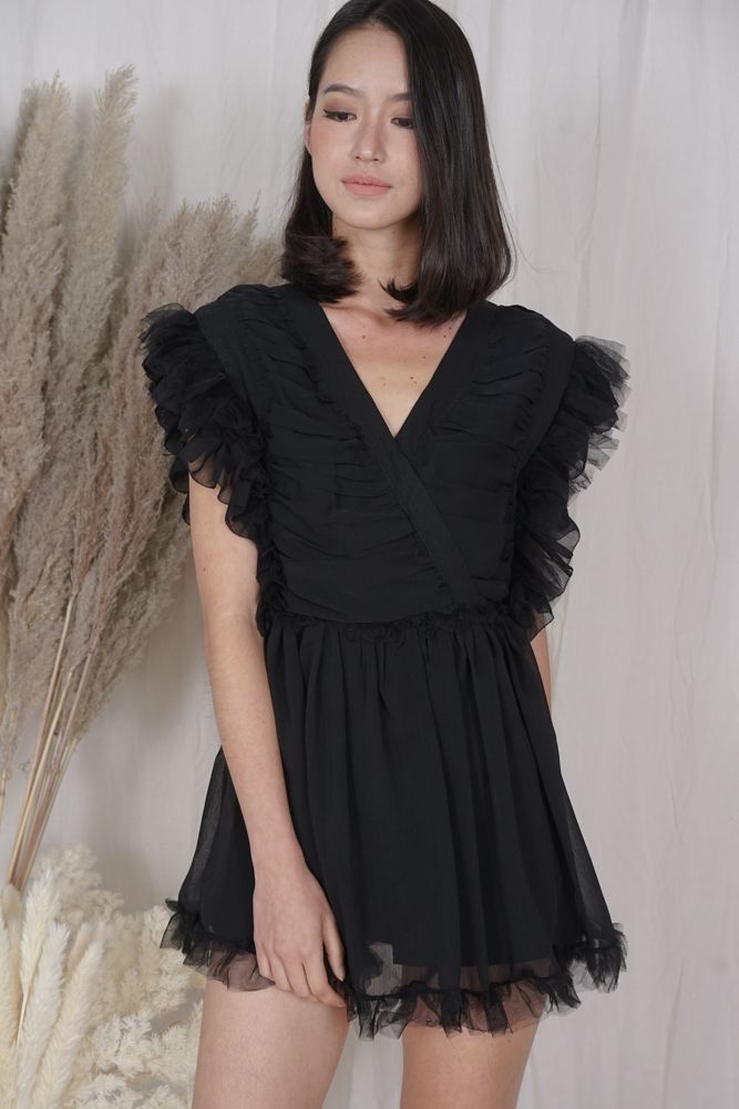 Blevi Ruffled Skorts Romper in Black - Arriving Soon