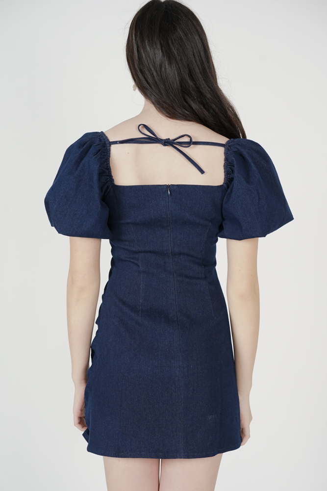 Aron Ruched Dress in Blue Denim - Arriving Soon