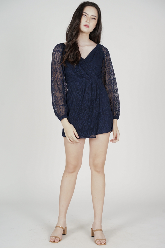 Wilfa Lace Romper in Midnight - Arriving Soon