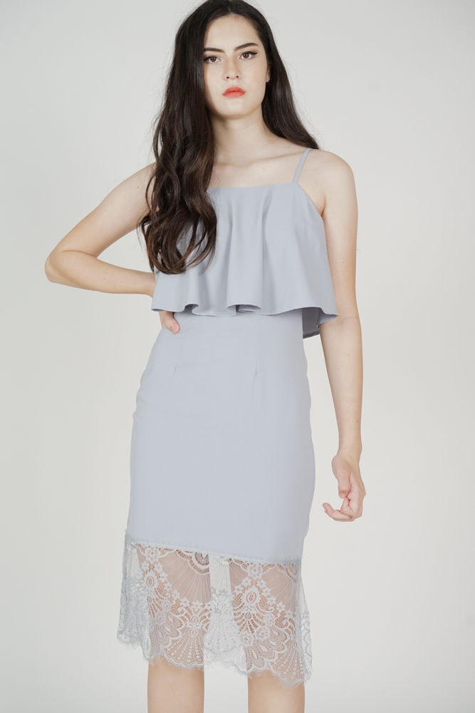 Lara Overlay Dress in Ash Blue - Arriving Soon