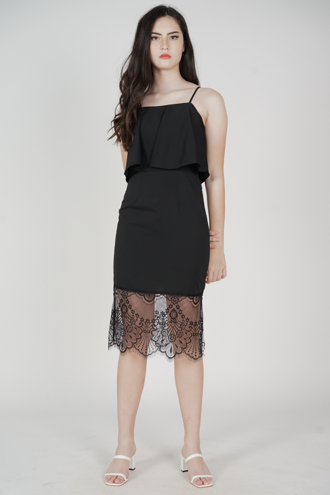 Lara Overlay Dress in Black - Arriving Soon