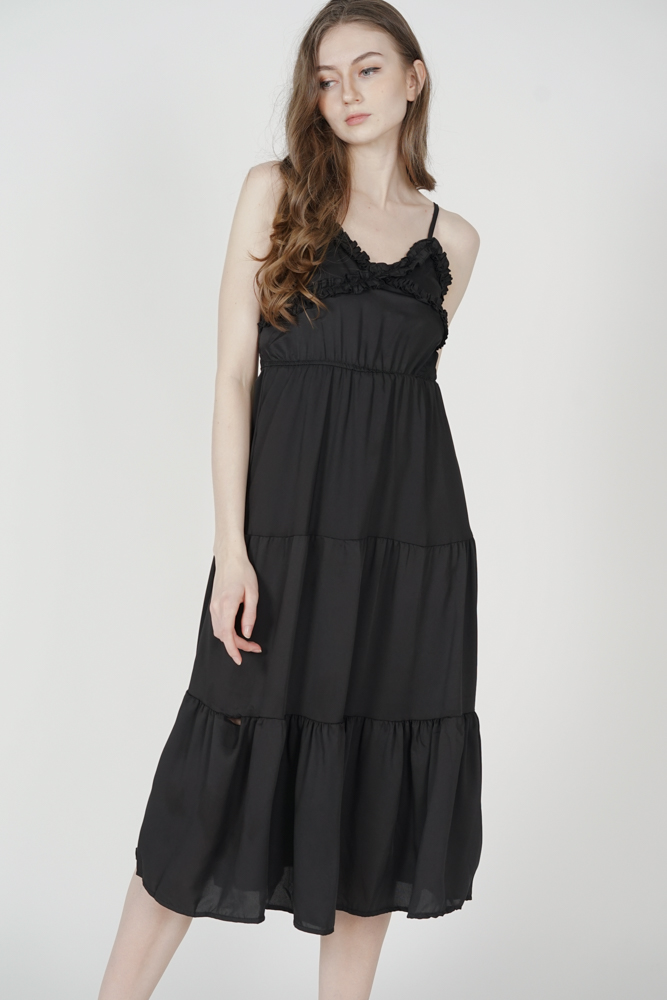 Jiana Gathered Dress in Black - Online Exclusive