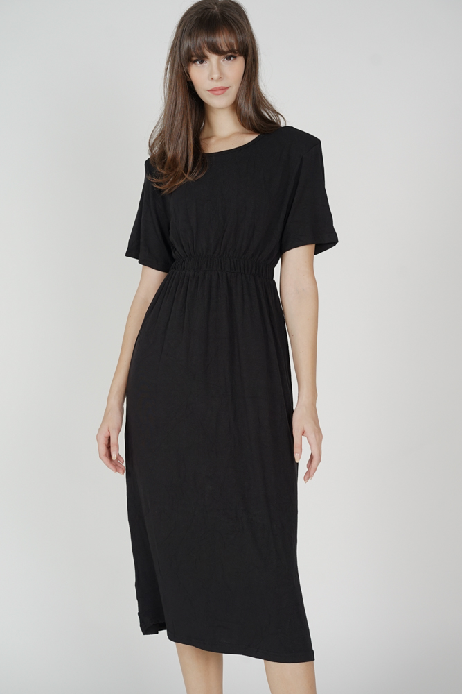 Maris Sleeved Dress in Black - Online Exclusive
