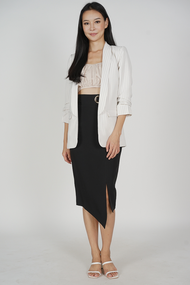 Maizel Gathered Sleeve Blazer in White Stripes - Arriving Soon
