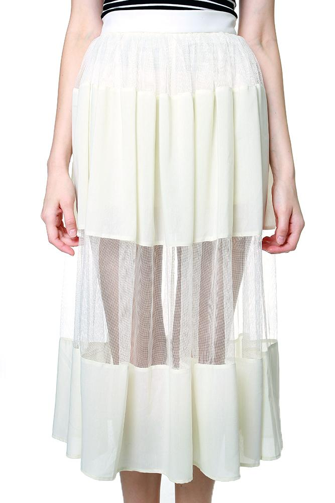 Lynna Mesh Skirt in Cream