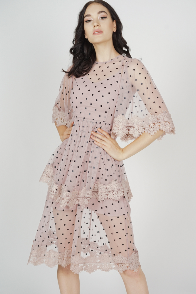 Zyrie Tiered Dress in Pink Polka Dots
