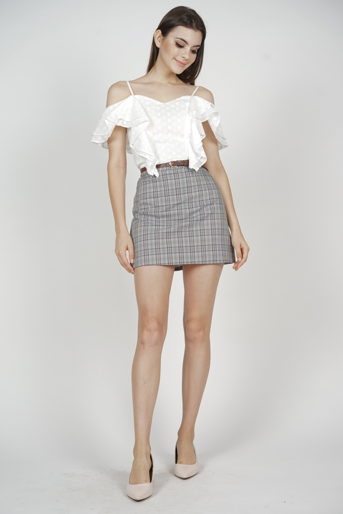 Keri Belted Skirt in Grey Checks - Online Exclusive