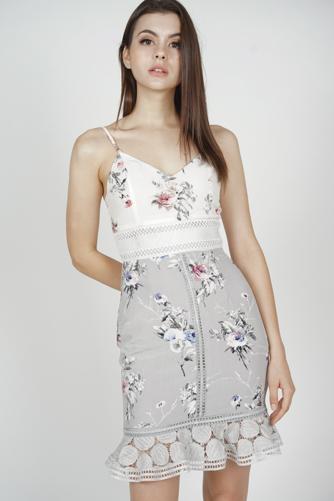 Lindea Ruffled-Hem Dress in Grey Floral - Arriving Soon