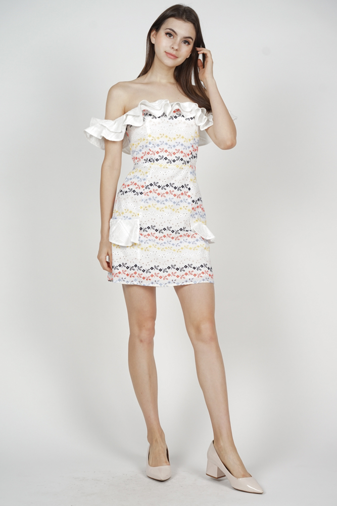 Carrie Frill Dress in Rainbow Floral - Arriving Soon
