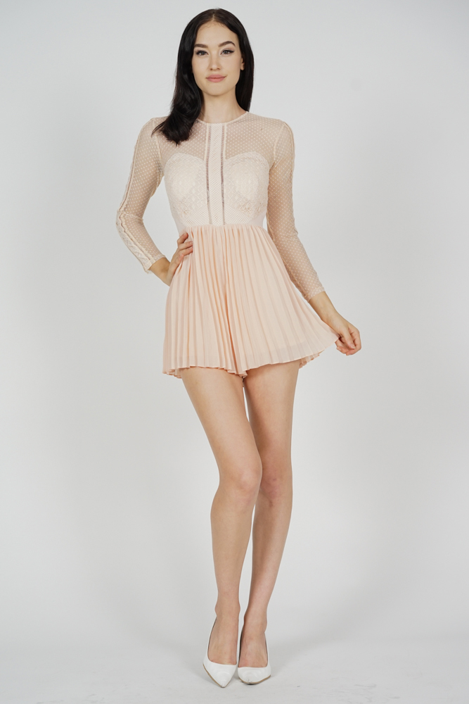 Melorie Pleated Lace Romper in Pink - Arriving Soon