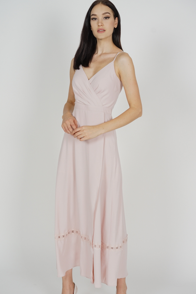 Blenca Overlap Maxi Dress in Pink - Arriving Soon