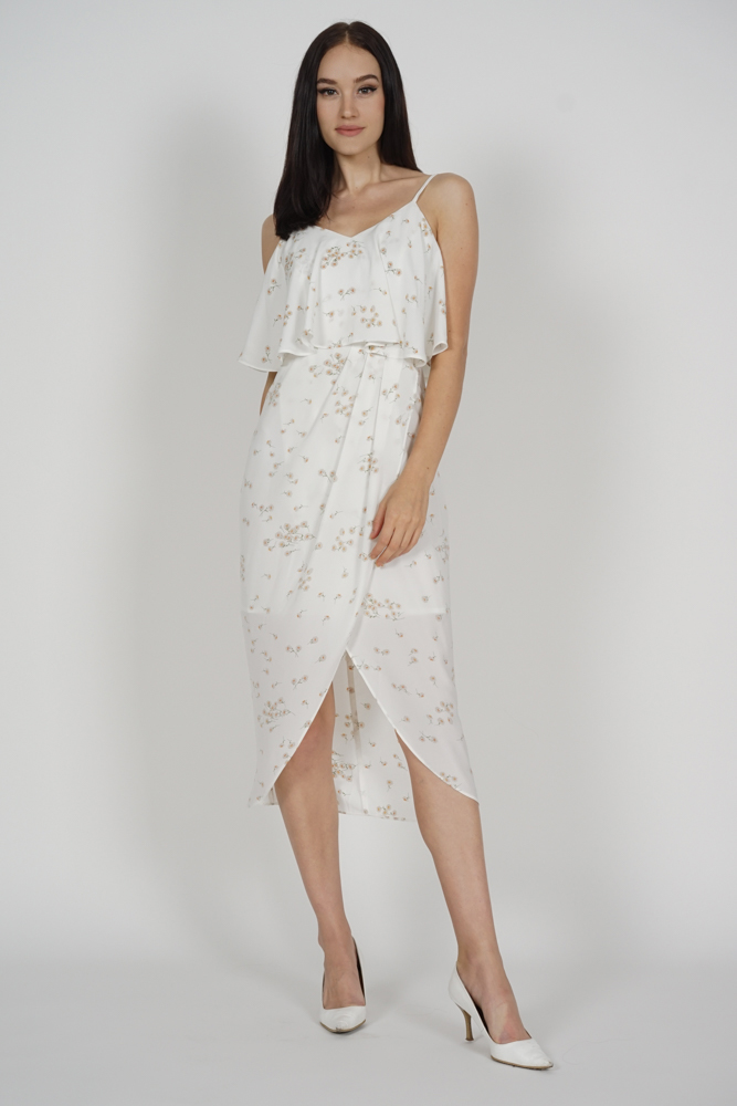 Kanzie Overlay Drape Dress in White Floral