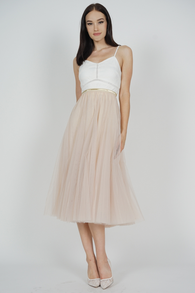 Malini Tulle Skirt in Beige