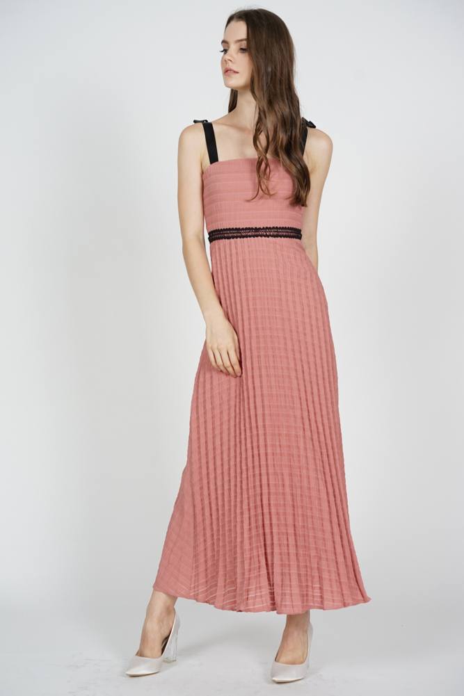 Adras Pleated Dress in Pink