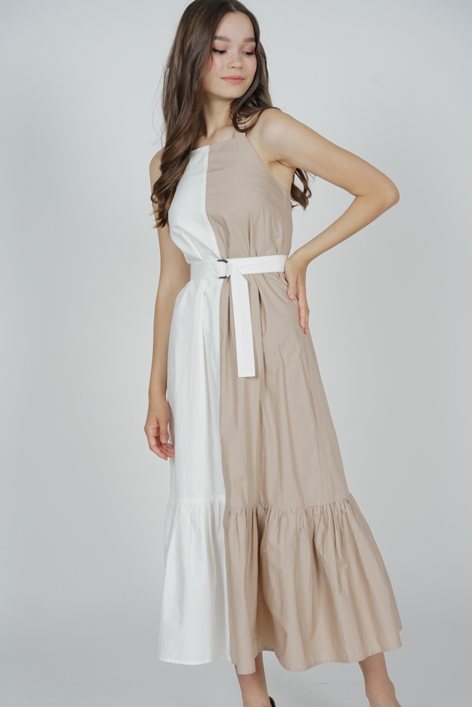 Marlize Contrast Dress in White Beige - Arriving Soon