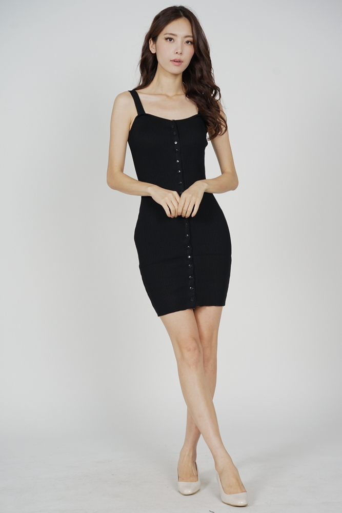 Adlay Buttoned Dress in Black - Online Exclusive