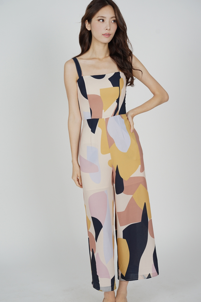 Anya Jumpsuit in Beige Abstract