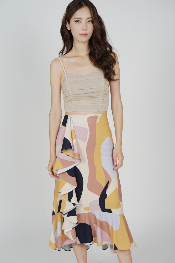 Glaris Ruffled Skirt in Beige Abstract - Arriving Soon